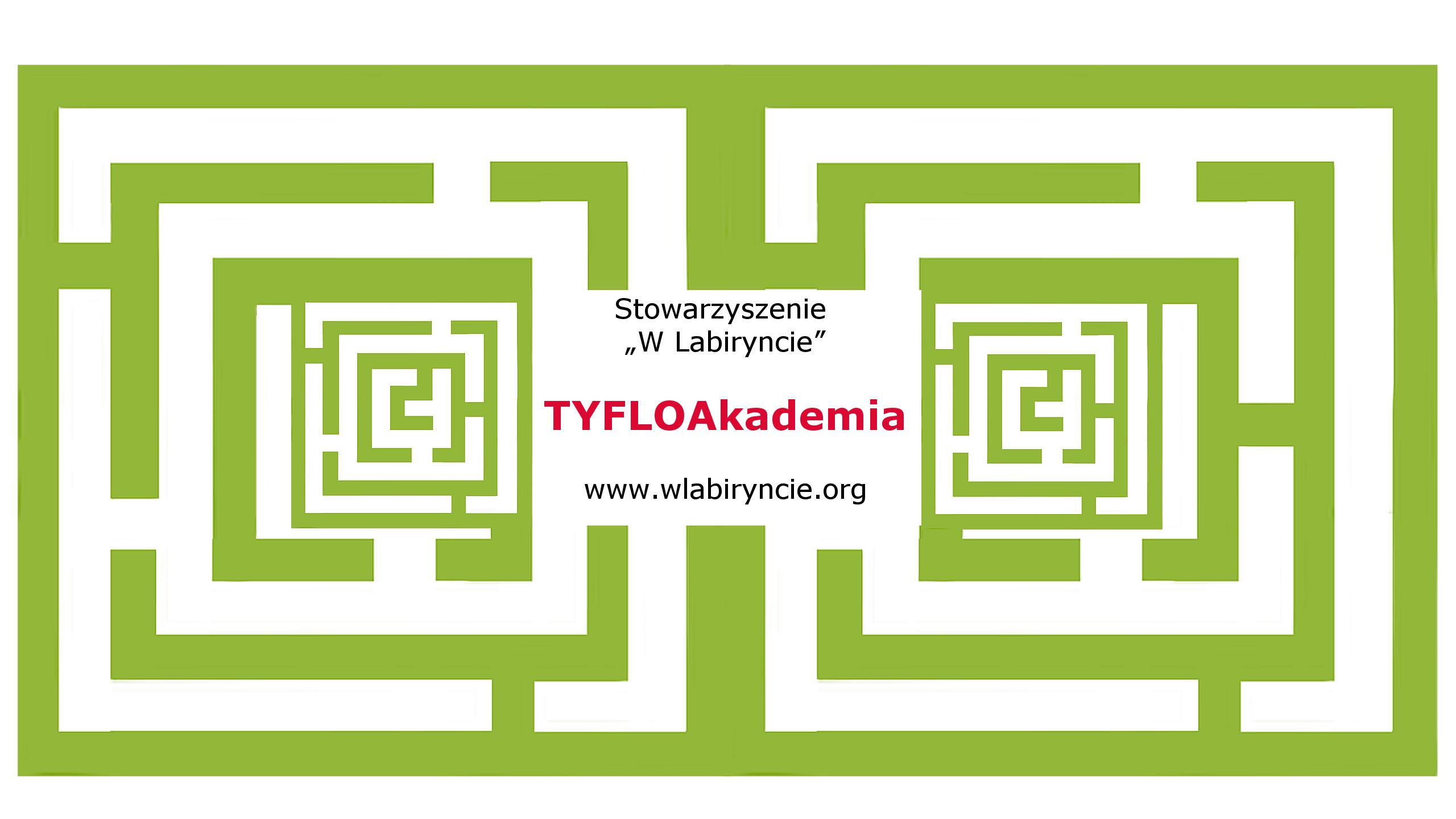 Logotyp dwa zielone kwadratowe labirynty. Między nimi nachodzi czerwony napis TYFLOAkademia