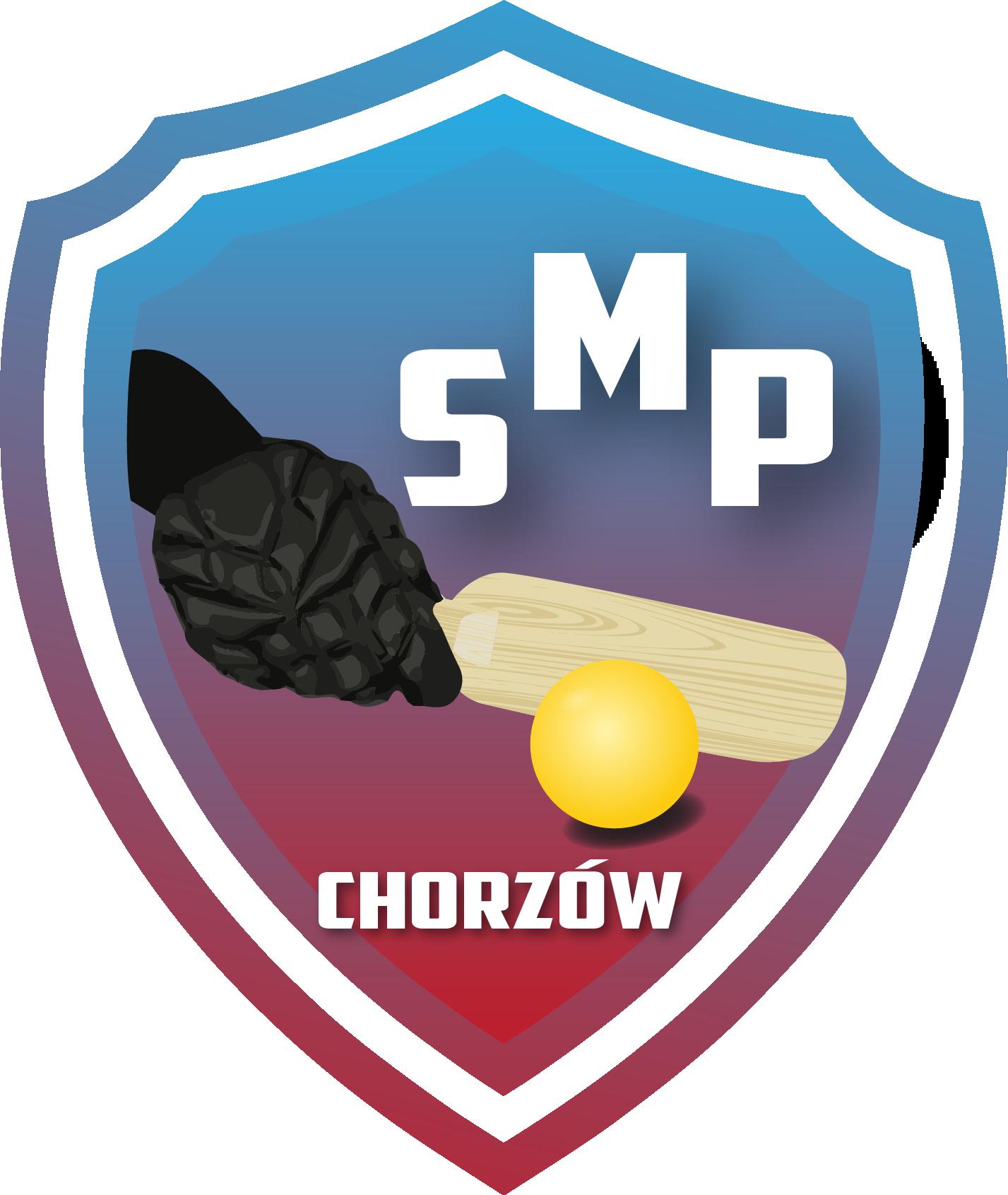 Logotyp herb, na środku rękawica trzymająca rakietkę do Showdown z piłeczką. U góry napis SMP, na dole napis Chorzów